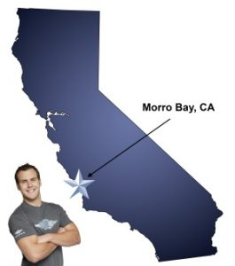 An arrow pointing to the city of Morro Bay on a map of California with an athletic Meathead Mover standing happily next to the state.