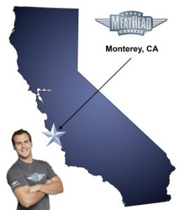 An arrow pointing to Monterey County on a map of California with an athletic Meathead Mover standing happily next to the state.