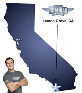An arrow pointing to the city of Lemon Grove on a map of California with an athletic Meathead Mover standing happily next to the state.