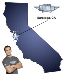 An arrow pointing to the city of Saratoga on a map of California with an athletic Meathead Mover standing happily next to the state.