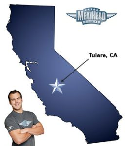 An arrow pointing to the city of Tulare on a map of California with an athletic Meathead Mover standing happily next to the state.