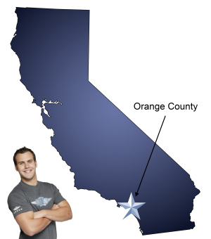An arrow pointing to Orange County on a map of California with an athletic Meathead Mover standing happily next to the state.
