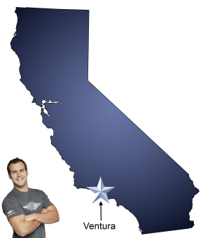 An arrow pointing to the city of Ventura on a map of California with an athletic Meathead Mover standing happily next to the state.