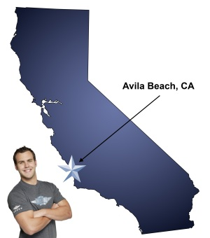 An arrow pointing to the city of Avila Beach on a map of California with an athletic Meathead Mover standing happily next to the state.
