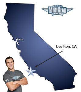 An arrow pointing to the city of Buellton on a map of California with an athletic Meathead Mover standing happily next to the state.