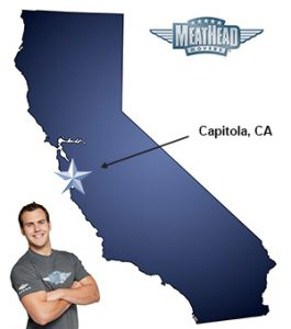 An arrow pointing to the city of Capitola on a map of California with an athletic Meathead Mover standing happily next to the state.