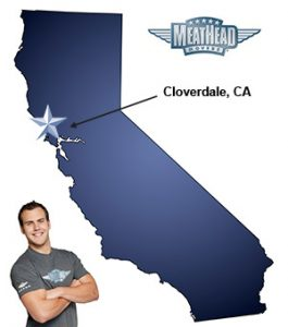 An arrow pointing to the city of Cloverdale on a map of California with an athletic Meathead Mover standing happily next to the state.