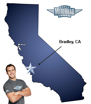 An arrow pointing to the city of Bradley on a map of California with an athletic Meathead Mover standing happily next to the state.