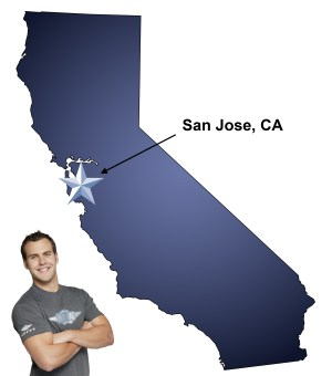 An arrow pointing to the city of San Jose on a map of California with an athletic Meathead Mover standing happily next to the state.