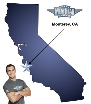 An arrow pointing to the city of Monterey on a map of California with a Meathead Mover standing happily next to the state.