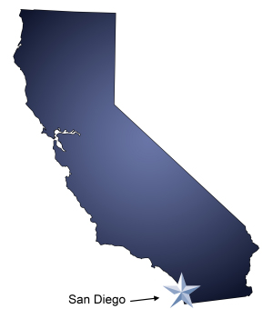 An arrow pointing to the city of San Diego on a map of California, which is one of many service areas of Meathead Movers.