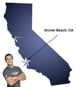 An arrow pointing to the city of Grover Beach on a map of California with an athletic Meathead Mover standing happily next to the state.