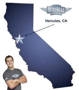 An arrow pointing to the city of Hercules on a map of California with an athletic Meathead Mover standing happily next to the state.