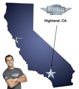 An arrow pointing to the city of Highland on a map of California with an athletic Meathead Mover standing happily next to the state.
