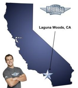 An arrow pointing to the city of Laguna Woods on a map of California with an athletic Meathead Mover standing happily next to the state.
