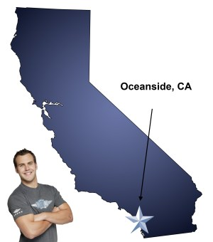 An arrow pointing to the city of Oceanside on a map of California with an athletic Meathead Mover standing happily next to the state.