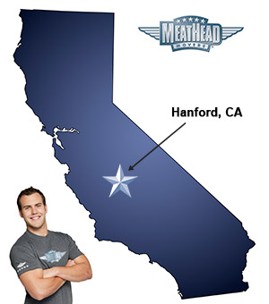 An arrow pointing to the city of Hanford on a map of California with an athletic Meathead Mover standing happily next to the state.