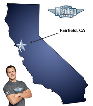 An arrow pointing to the city of Fairfield on a map of California with an athletic Meathead Mover standing happily next to the state.