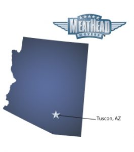 An arrow pointing to the city of Tucson on a map of Arizona with a Meathead Movers logo hovering above the state.