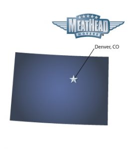 An arrow pointing to the city of Denver on a map of Colorado with an athletic Meathead Mover standing happily next to the state.