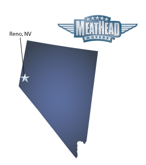 An arrow pointing to the city of Reno on a map of Nevada with a Meathead Mover logo hovering above the state.