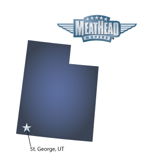 An arrow pointing to the city of St. George on a map of Utah with a Meathead Movers logo in the upper right corner.