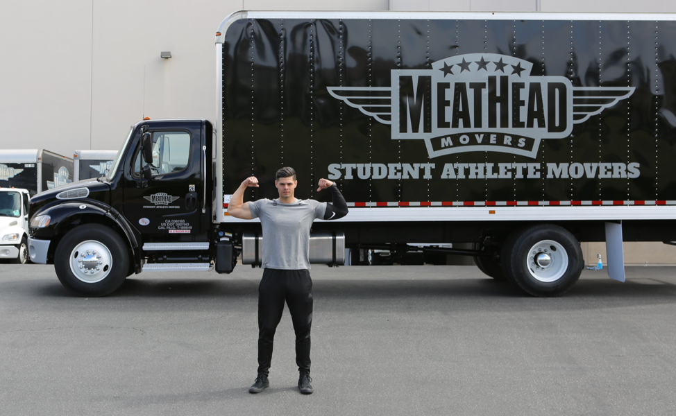 Meathead in front of truck
