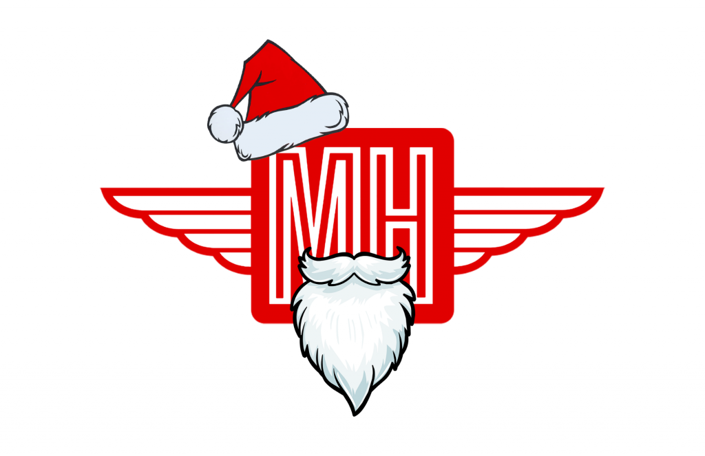 The Meathed Movers logo with a Santa Claus hat and beard.
